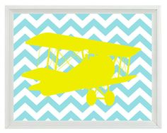 Vintage Airplane Nursery Chevron Art Print - Boy Room Biplane Aqua Yellow - Wall Art Home Decor 8x10 Print