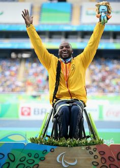 Gold medalist Mauricio Valencia of Colombia celebrates on the podium at the medal ceremony for Men's Javelin Throw - F34 on day 9 of the Rio 2016 Paralympic Games at the Olympic Stadium on September 16, 2016 in Rio de Janeiro, Brazil.