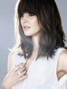 Medium, shoulder-length hairstyles are super trendy at the moment. From shags to long bobs to curly styles, check out some popular hairstyles.: Rose Byrne's Blunt Bangs & Shoulder-Length Hair
