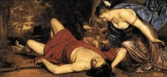HOLSTEYN, Cornelis  (b. 1618, Haarlem, d. 1658, Amsterdam)    Venus and Amor Mourning the Death of Adonis  c. 1655