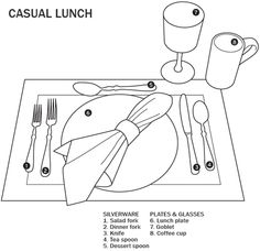 Casual lunch table setting - Dessert spoon or fork can be placed above dinner plate.  Bread Plate can be placed above forks on left.  Napkins can go on plate or left of forks.  If paper napkins are used, fold and put left of forks.