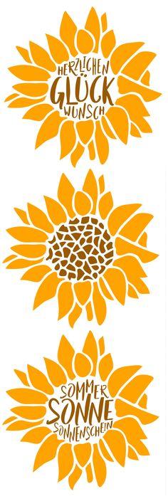 Plotter-Freebie: Sonneblume - in vier Varianten - Herzlichen Glückwunsch & Sommer Sonne Sonnenschein | DXF, SVG | kugelig.com