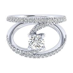 Gabriel - Nova 14k White Gold Round Split Shank Engagement Ring