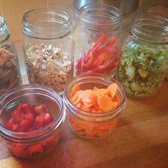 Keep #veggies stored in  #masonjars.  Your refrigerator becomes a salad bar.  Easy nutrition!