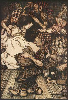 The Brothers Grimm Fairytales. Arthur Rackham illustration. Snow White and the Seven Dwarfs #illustration