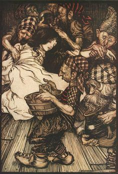 Snowdrop (Snow White and the Seven Dwarfs) by Arthur Rackham (from: Grimm, Jacob and Wilhelm. The Fairy Tales of the Brothers Grimm. Mrs. Edgar Lucas, translator. Arthur Rackham, illustrator. London: Constable & Company Ltd, 1909)