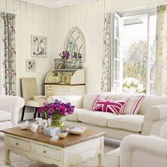 Cottage sitting room - love the desk in the corner