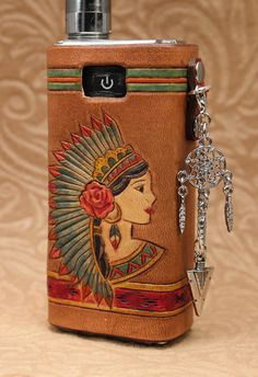 Native American Woman MVP Leather Vaping Sleeve Case Wrap iTaste