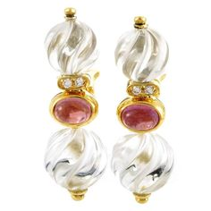 View this item and discover similar for sale at - With charming pink tourmalines exuding their romantic allure and lustrous diamonds amounting to providing subtle resplendence, these fabulous Unique Earrings, Gemstone Earrings, Crystal Earrings, Gold Earrings, Boucheron Jewelry, 18k Gold Jewelry, Fine Jewelry, Crystals And Gemstones, Fashion Jewelry
