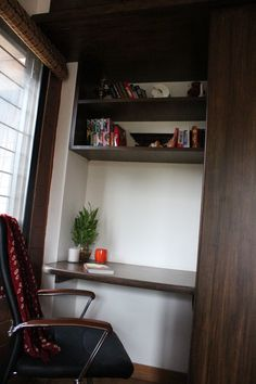 Floating book shelf with desk attached to the wardrobe