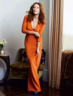 Celebrity Style: Steals the look of Julianne Moore . - Celebrity Style: Steals the look of Julianne Moore - Julianne Moore, Blake Lively, Hollywood, My Hairstyle, Tips Belleza, Orange Dress, Looks Style, Models, Redheads