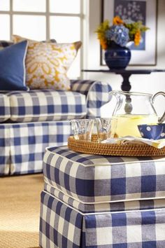 Decorate With Blue and White Buffalo Plaid - decoration,wood,wood working,furniture,decorating Decor, Blue White Decor, French Country Living Room, Blue And White, Interior, Blue Decor, Home Decor, Plaid Couch, Country Living Room