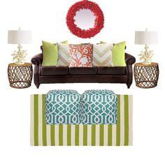 Birch Grove Interiors, living room, beach decor, coral, aqua and green