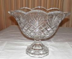 SHANNON LEAD CRYSTAL LARGE PEDESTAL OVAL BOWL PINEAPPLE PATTERN  $39.99? bin EBAY
