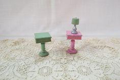 Vintage Dollhouse Furniture End Tables Side Tables Table Lamp Strombecker by KansasKardsStudio on Etsy