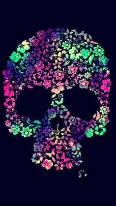 Flower Skull Galaxy iPhone/Android Wallpaper I Created For The App Top Chart #lockscreen #iphonewallpaper #skull #flowers #floral #homescreen #cutewallpaper
