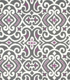 Seriously considering this fabric for curtain panels in the sewing room! (Robert Allen Best Home Decor Print Fabric Damask Nickel) Damask Curtains, Damask Decor, Curtain Patterns, Textile Patterns, Stylish Home Decor, Cotton Twill Fabric, Throw Cushions, Pillows, Home Decor Fabric
