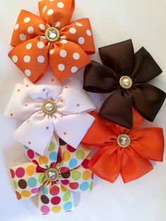 5 Fall/Thanksgiving Large Hair Bows by JoyfulLittleHart on Etsy