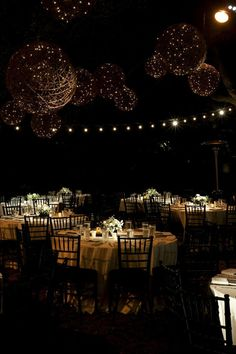 Elegant outdoor reception with twinkle lights