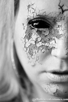 doll makeup Halloween Costumes 2013 halloween costumes #DIY not so much the black eye, BUT the crackle effect with skin showing through is beautiful