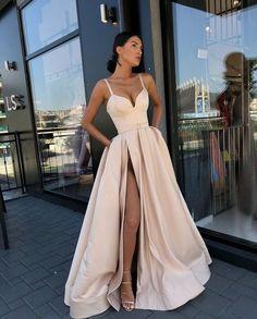 38cad9e8285 Custom Made A Line Champagne  Royal Blue  Burgundy  Black Spaghetti Straps Prom  Dress with High Slit