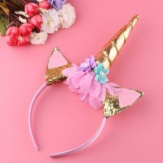 2019 Fashion 1pc Headband Glitter Unicorn Horn With Chiffon Flowers Hair Hoop Party Hair Styling Tool Braiders For Kids 6 Colors Choice Materials Beauty & Health Styling Tools