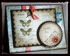 This card is made from a set of clear stamps by Hero Arts. CL549 Butterflies and Wildflowers