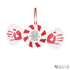 Handprint Peppermint Keepsake Christmas Craft Kit - OrientalTrading.com