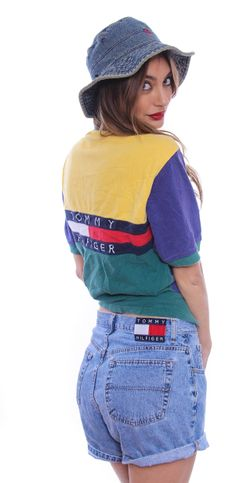 90's Tommy Hilfiger Embroidered Shorts - Denim / Overalls - Ladies