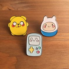 Enamel Pins, Adventure Time Pin Set of 3, Lapel Pin, Kawaii, Adventure Time by HelloItsQuokka on Etsy https://www.etsy.com/listing/481656498/enamel-pins-adventure-time-pin-set-of-3
