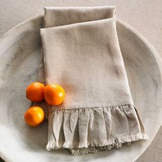 Natural Linen Hand Towels - Wisteria | domino.com