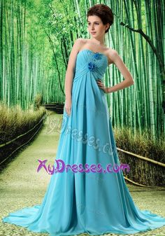 Sweetheart Ruching Chiffon Prom Gowns with Handmade Flowers in Aqua Blue