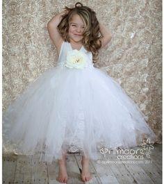 Tulle Flower Girl Dress - size 1T to 5T White. $125.00, via Etsy.