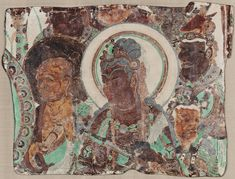 Bust of a Bodhisattva Surrounded by a Monk and Devas (from the south wall  of Mogao Cave 320, Dunhuang, Gansu province) - Google Arts & Culture