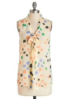 South Florida Spree Top in Dots. Take your wardrobe on a vivacious vacation with this eye-catching sleeveless top! #multi #modcloth