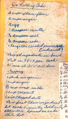 Do Nothing Cake Recipes - Best Recipes Around The World Retro Recipes, Old Recipes, Vintage Recipes, Baking Recipes, Sweet Recipes, Cake Recipes, Dessert Recipes, Pie Dessert, Cookbook Recipes