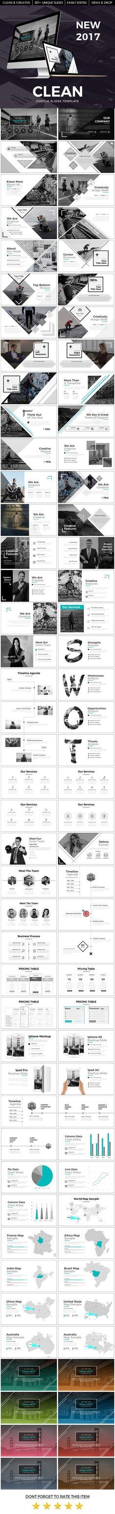 Clean 2017 Google Slide Template - Google Slides #Presentation #Templates Download here: https://graphicriver.net/item/clean-2017-google-slide-template/19742859?ref=alena994: