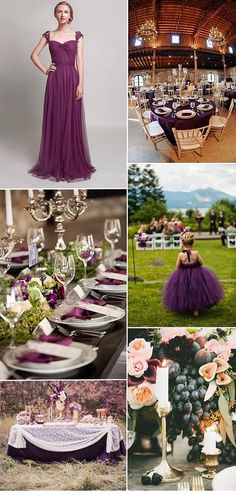 Purple and gold place setting example