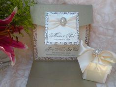 Patterned Brooch Pocketfold Invitation See more custom-made invitations & favors at wrappedupindetails.com