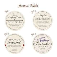Free Printable soap Label Templates Elegant Predesigned Personalized Labels Bath and Body 60 Pk Wine Bottle Crafts, Mason Jar Crafts, Mason Jar Diy, Diy Hanging Shelves, Round Labels, Personalized Labels, Custom Labels, Printable Labels, Free Printables