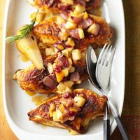 roasted chicken breasts with caramelized onions and fall fruit