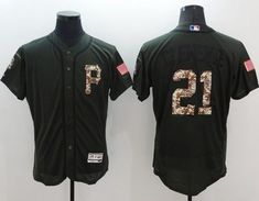 Pirates #21 Roberto Clemente Green Flexbase Authentic Collection Salute to Service Stitched MLB Jersey