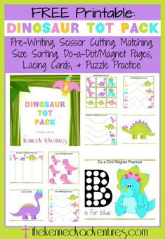 Dinosaur Sensory Bin {with Free Printables} Free Dinosaur Printables for Pre-K! (Kennedy Adventures)Free Dinosaur Printables for Pre-K! Toddler Learning, Preschool Learning, Toddler Preschool, In Kindergarten, Fun Learning, Learning Shapes, Teaching, Dinosaurs Preschool, Dinosaur Activities