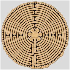 """Design-Chartres-Labyrinth: """"A labyrinth eventually takes one to a Center. A maze does not, but has many twists and turns in its path, even the occasional """"dead end. Lynda Barry, Tarot, Architecture Classique, Labyrinth Maze, Medieval, Ancient Symbols, Mayan Symbols, Viking Symbols, Egyptian Symbols"""