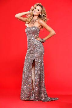 Mermaid Floor-length Sweetheart Dress Coffee Scala 1060 Sequins High-slit