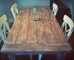 Weathered Farm House Style Table by SouthPhillyBarn on Etsy.