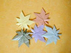 origami maple leaf,origami four leaf clover,origami leaf card,leaf origami,origami rose leaf,origami leaf instructions,four leaf clover orig...