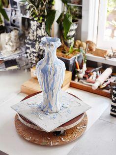 Iggy & Lou Lou 'Driptopia' vase before firing. Photo – Sean Fennessy for The Design Files.