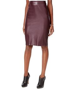 Bar III Womens FauxLeather Pencil Skirt Merlot XSmall ** Want to know more, click on the image.