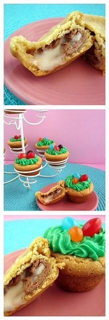 Easter egg hunt cookies (w/ mini cadbury inside!)